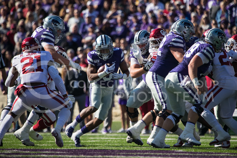 Senior Running Back Jordan Brown runs up the middle of the field at game against Oklahoma. The Wildcats upset the #5 ranked Sooners 48-41.( Dalton Wainscott I Collegian Media Group )