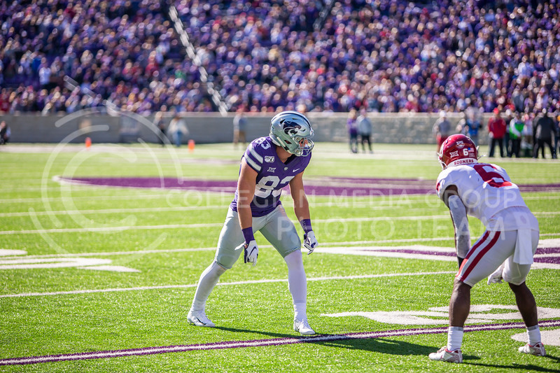 Senior wide receiver Dalton Schoen prepares for a play during K-State's homecoming football game against OU in Bill Snyder Family Stadium on Oct. 26, 2019. The Wildcats upset the No. 5 rated Sooners with a final score of 48-41. (Logan Wassall | Collegian Media Group)