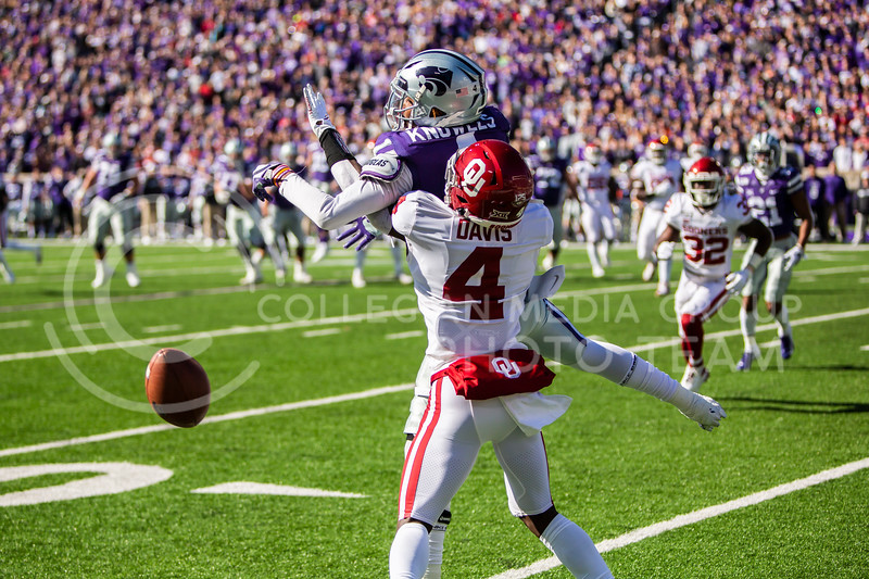 Freshman cornerback Jaden Davis is called for defensive pass interference during K-State's homecoming football game against OU in Bill Snyder Family Stadium on Oct. 26, 2019. The Wildcats upset the No. 5 rated Sooners with a final score of 48-41. (Logan Wassall | Collegian Media Group)