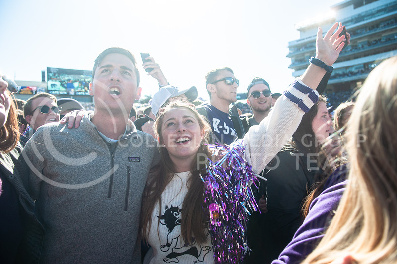 Storming the field,  fans celebrate the homecoming victory against OU on Oct. 26th, 2019. The Wildcats defeated the Sooners 48-41. (Aubrey Bolinger | Collegian Media Group)