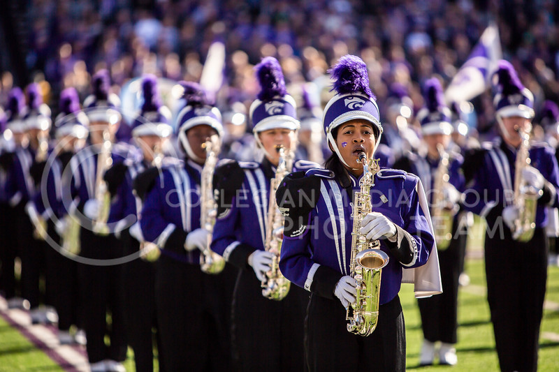 K-State's marching band plays before the homecoming football game against OU in Bill Snyder Family Stadium on Oct. 26, 2019. The Wildcats upset the No. 5 rated Sooners with a final score of 48-41. (Logan Wassall | Collegian Media Group)