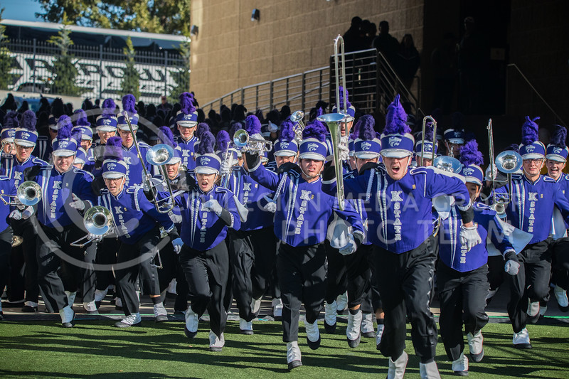 The pride of the Wildcat Marching Band runs out of tunnel before game against Oklahoma. The Wildcats upset the #5 ranked Sooners 48-41.( Dalton Wainscott I Collegian Media Group )