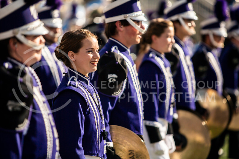 K-State's marching band prepares to rush the field before the homecoming football game against OU in Bill Snyder Family Stadium on Oct. 26, 2019. The Wildcats upset the No. 5 rated Sooners with a final score of 48-41. (Logan Wassall | Collegian Media Group)