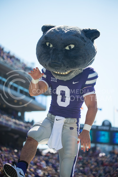 Willie the Wildcat does the K-S-U chant after the Wildcats score a touchdown at game against Oklahoma. The Wildcats upset the #5 ranked Sooners 48-41.( Dalton Wainscott I Collegian Media Group )