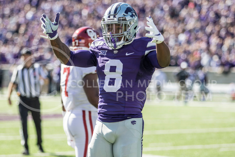 Senior defensive back Daron Bowles looks to the student section to celebrate after a defensive stop during the game against Oklahoma at Bill Snyder Family Stadium on Oct. 26, 2019. (Sabrina Cline | Collegian Media Group)