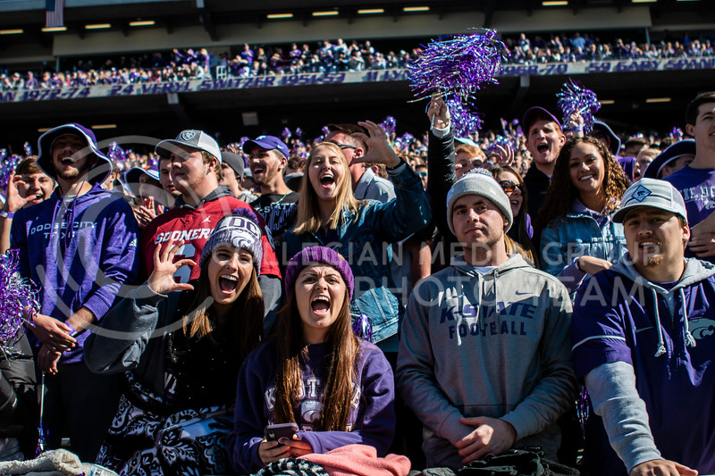 K-State fans cheer on their football team during their homecoming football game against OU in Bill Snyder Family Stadium on Oct. 26, 2019. The Wildcats upset the No. 5 rated Sooners with a final score of 48-41. (Logan Wassall | Collegian Media Group)