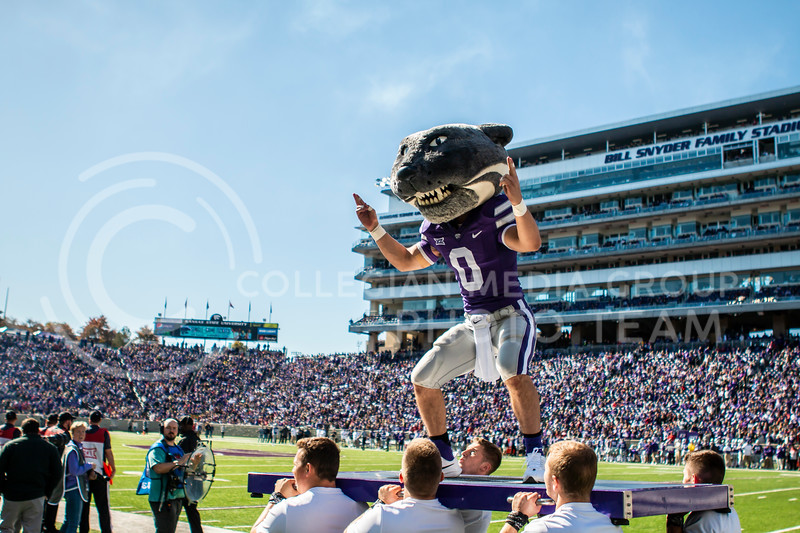 Willie Wildcat leads K-State fans in cheering on their football team during their homecoming football game against OU in Bill Snyder Family Stadium on Oct. 26, 2019. The Wildcats upset the No. 5 rated Sooners with a final score of 48-41. (Logan Wassall | Collegian Media Group)