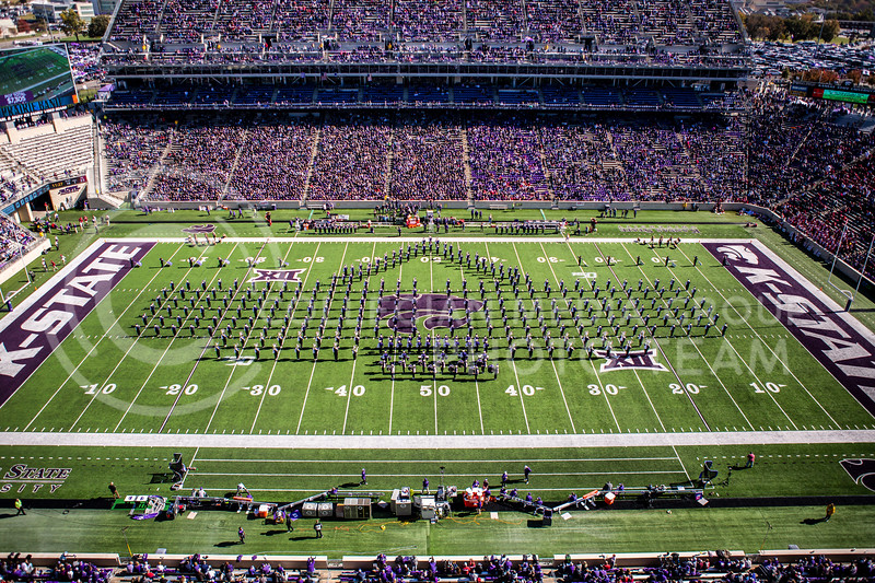 K-State's marching band performs during the halftime show during K-State's homecoming football game against OU in Bill Snyder Family Stadium on Oct. 26, 2019. The Wildcats upset the No. 5 rated Sooners with a final score of 48-41. (Logan Wassall | Collegian Media Group)
