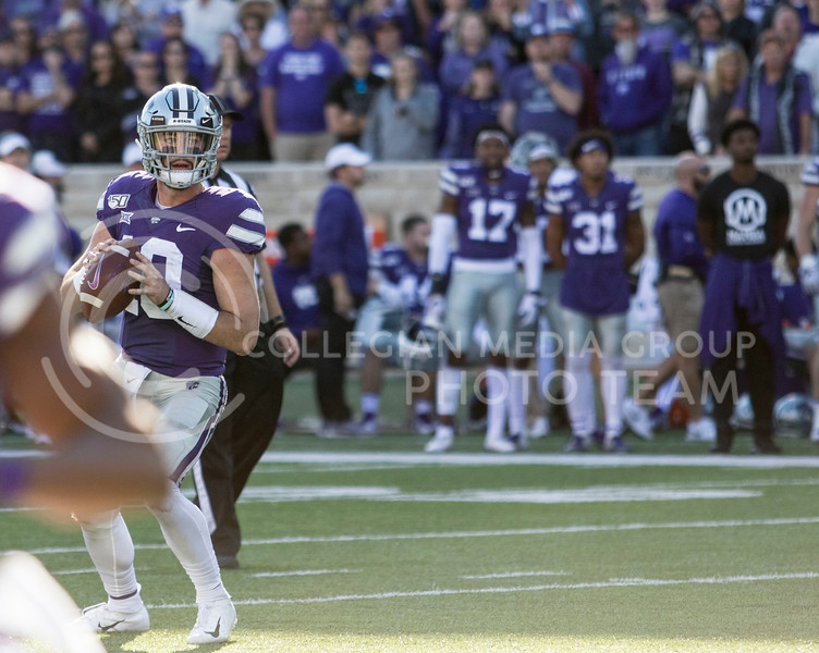 Junior quarterback Skylar Thompson scans the field during the game against TCU on Oct. 19, 2019 at Bill Snyder Family Stadium. (Sabrina Cline   Collegian Media Group)