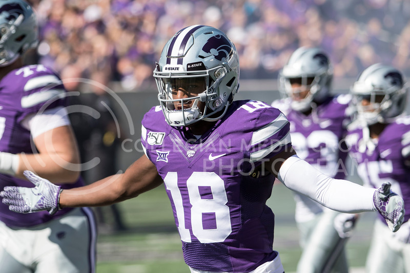Freshman defensive back Jay Crayton runs out of the tunnel before the game against TCU on Oct. 19, 2019 at Bill Snyder Family Stadium. (Sabrina Cline   Collegian Media Group)