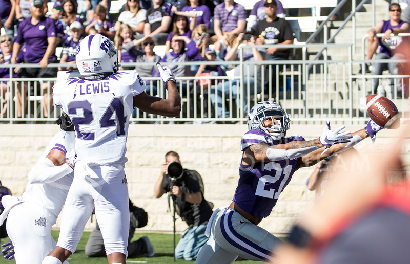 Junior wide receiver Wykeen Gill lays out to try to catch the overthrown football in the end zone during the game against TCU on Oct. 19, 2019 at Bill Snyder Family Stadium. (Sabrina Cline | Collegian Media Group)