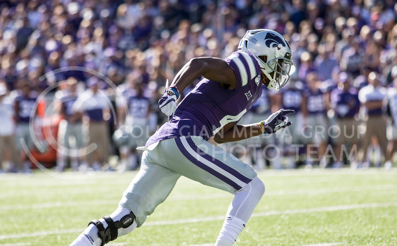Redshirt freshman Malik Knowles runs his route on offense during the game against TCU on Oct. 19, 2019 at Bill Snyder Family Stadium. (Sabrina Cline | Collegian Media Group)