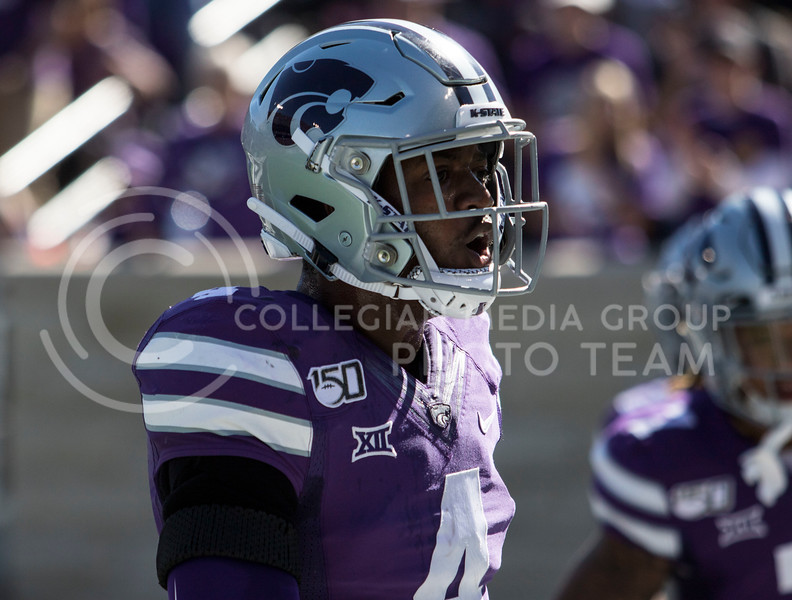 Redshirt freshman defensive back Wayne Jones screams with excitement after the fumble recovery during the game against TCU on Oct. 19, 2019 at Bill Snyder Family Stadium. (Sabrina Cline   Collegian Media Group)