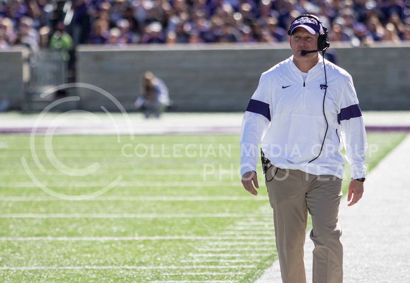 Head Coach Chris Klieman paces the sideline during the game against TCU on Oct. 19, 2019 at Bill Snyder Family Stadium. (Sabrina Cline | Collegian Media Group)