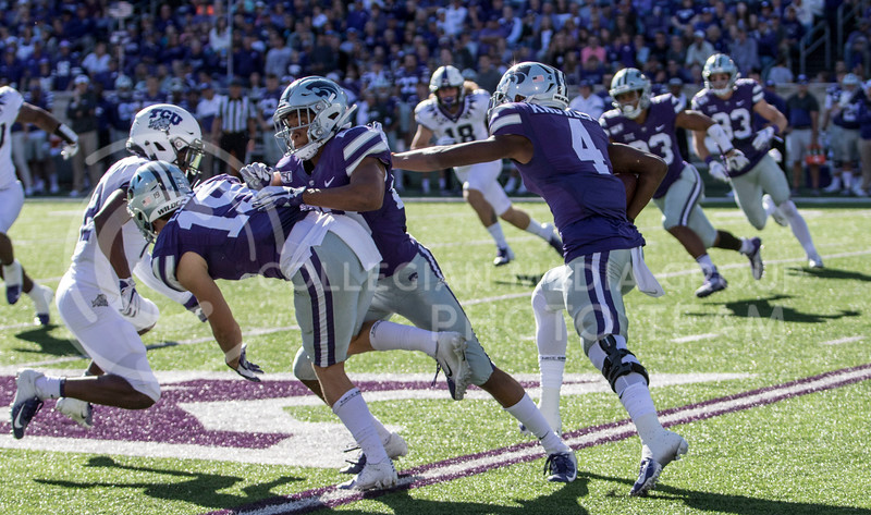Redshirt freshman Malik Knowles receives the ball and starts running it back for the return during the game against TCU on Oct. 19, 2019 at Bill Snyder Family Stadium. (Sabrina Cline | Collegian Media Group)