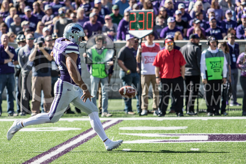 Senior punter Devin Anctil punts the ball away during the game against TCU on Oct. 19, 2019 at Bill Snyder Family Stadium. (Sabrina Cline | Collegian Media Group)