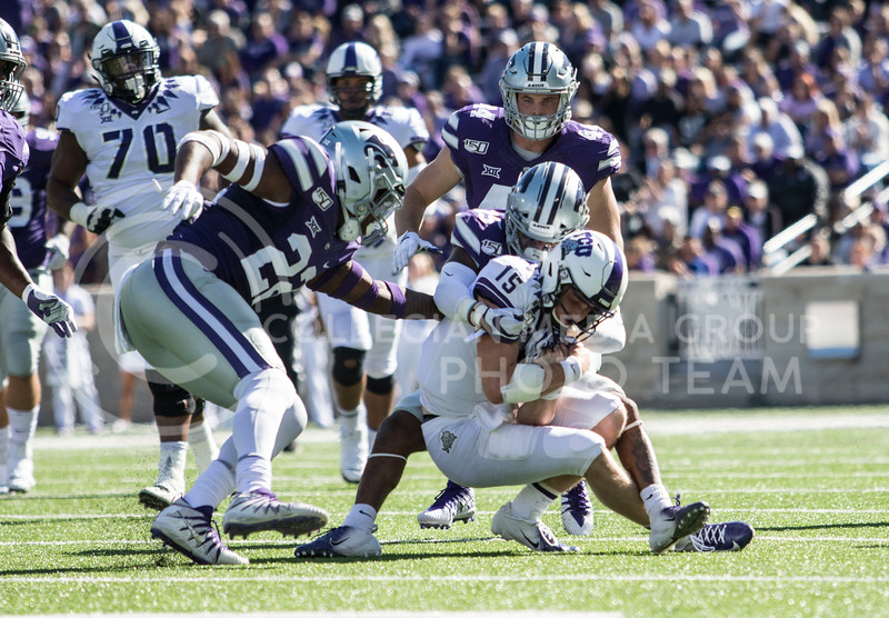 Junior defensive back Walter Neil Jr. takes down his opponent during the game against TCU on Oct. 19, 2019 at Bill Snyder Family Stadium. (Sabrina Cline | Collegian Media Group)