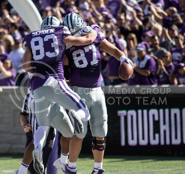 Sophomore tight end Nick Lenners celebrates with teammate senior wide receiver Dalton Schoen after scoring a touchdown during the game against TCU on Oct. 19, 2019 at Bill Snyder Family Stadium. (Sabrina Cline   Collegian Media Group)
