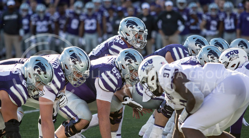 Junior quarterback Skylar Thompson sets up his offense during the game against TCU on Oct. 19, 2019 at Bill Snyder Family Stadium. (Sabrina Cline   Collegian Media Group)