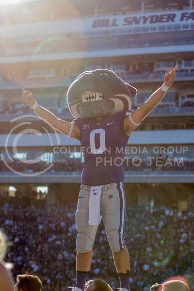 Willie the Wildcat hypes up the crowd after a touchdown during the game against TCU on Oct. 19, 2019 at Bill Snyder Family Stadium. (Sabrina Cline   Collegian Media Group)