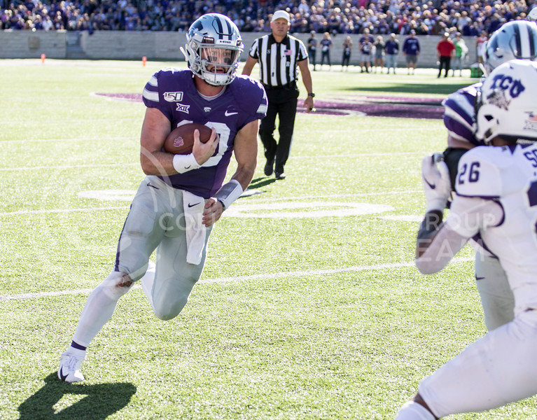 Junior quarterback Skylar Thompson rushes the ball downfield for a first down during the game against TCU on Oct. 19, 2019 at Bill Snyder Family Stadium. (Sabrina Cline   Collegian Media Group)