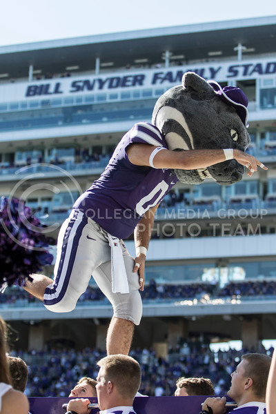 Willie the Wildcat does the K-S-U chant after a touchdown during the game against TCU on Oct. 19, 2019 at Bill Snyder Family Stadium. (Sabrina Cline | Collegian Media Group)