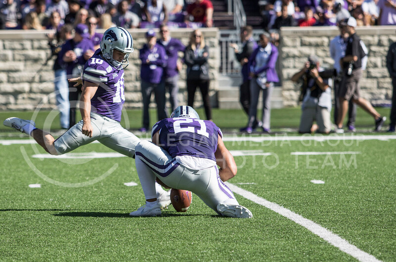 Junior place kicker Blake Lynch kicks a field goal during the game against TCU at Bill Snyder Family Stadium on Oct. 19, 2019.  (Sabrina Cline | Collegian Media Group)