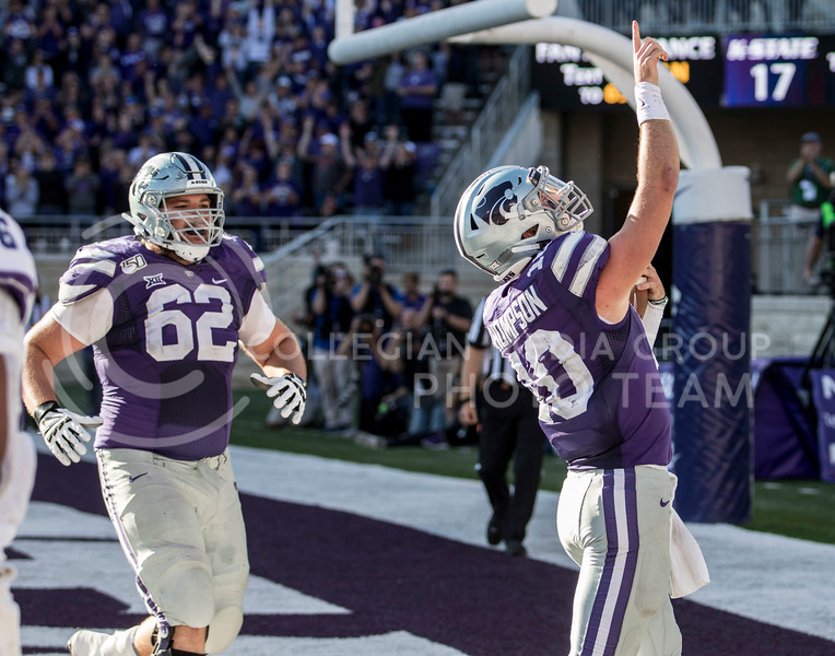 Junior quarterback Skylar Thompson rushes the ball into the end zone for a touchdown during the game against TCU on Oct. 19, 2019 at Bill Snyder Family Stadium. (Sabrina Cline   Collegian Media Group)