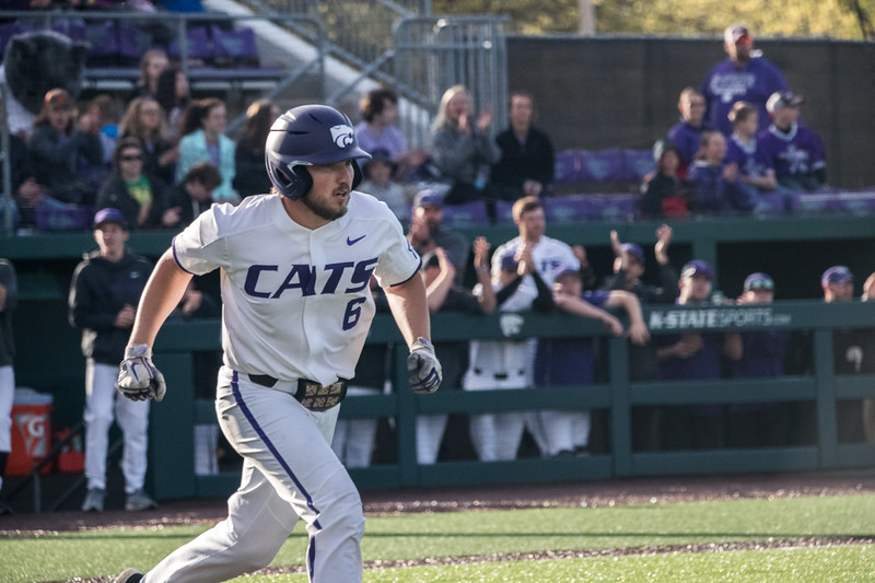 Sophomore Terrence Spurlin runs to first at game against TCU, the Wildcats won 7-4 at Tointon Stadium in Manhattan. The baseball team held a fundraiser along with the game, in coordination with the Silver Key Sophomore Honorary. (Dalton Wainscott I Collegian Media Group)