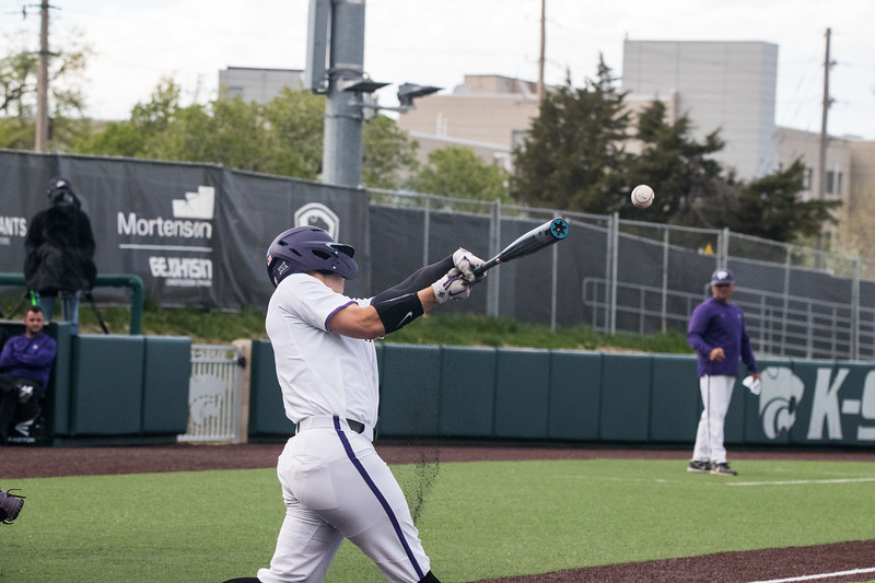 Junior Will Brennan mid hit at game against TCU, the Wildcats won 7-4 at Tointon Stadium in Manhattan. The baseball team held a fundraiser along with the game, in coordination with the Silver Key Sophomore Honorary. (Dalton Wainscott I Collegian Media Group)