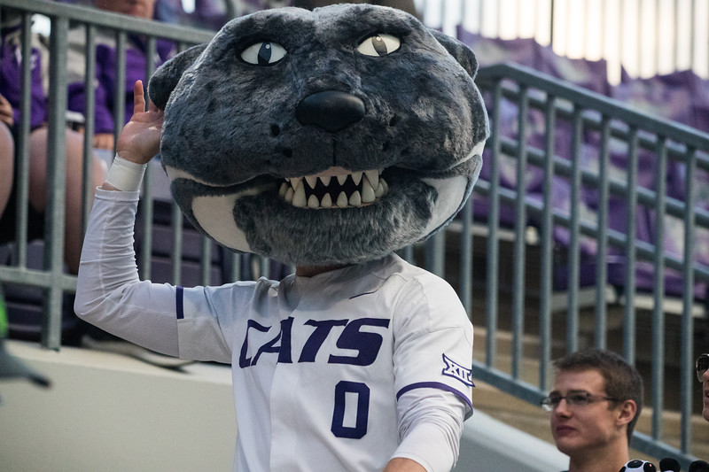 Willie the Wildcat waves to crowd at game against TCU, the Wildcats won 7-4 at Tointon Stadium in Manhattan. The baseball team held a fundraiser along with the game, in coordination with the Silver Key Sophomore Honorary. (Dalton Wainscott I Collegian Media Group)