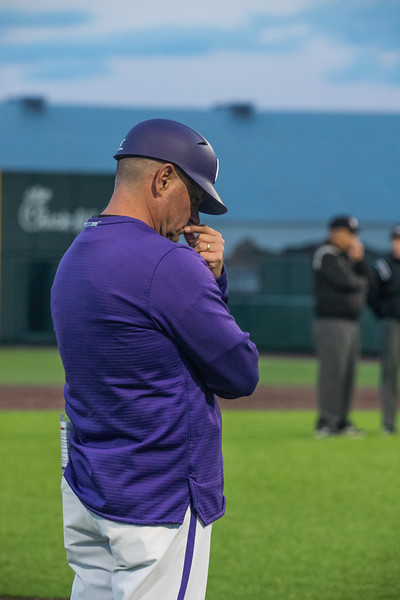 Head Coach Pete Hughes Thinks about call under review at game against TCU, the Wildcats won 7-4 at Tointon Stadium in Manhattan. The baseball team held a fundraiser along with the game, in coordination with the Silver Key Sophomore Honorary. (Dalton Wainscott I Collegian Media Group)