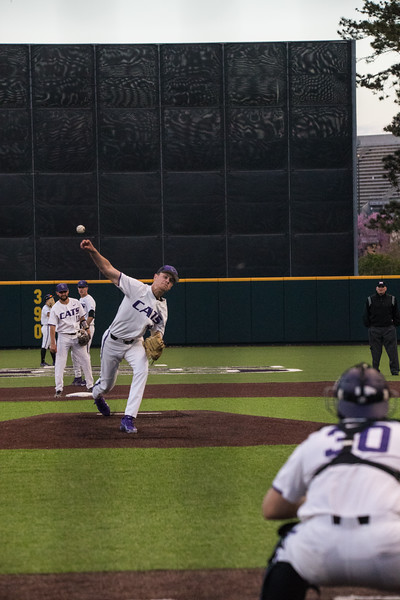 Freshmen Griffin hassall throws warmup pitch to catcher Junior Chris Ceballos at game against TCU, the Wildcats won 7-4 at Tointon Stadium in Manhattan. The baseball team held a fundraiser along with the game, in coordination with the Silver Key Sophomore Honorary. (Dalton Wainscott I Collegian Media Group)
