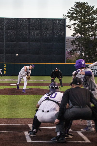 Pitcher Freshmen Griffin Hassall mid pitch at game against TCU, the Wildcats won 7-4 at Tointon Stadium in Manhattan. The baseball team held a fundraiser along with the game, in coordination with the Silver Key Sophomore Honorary.  (Dalton Wainscott I Collegian Media Group)