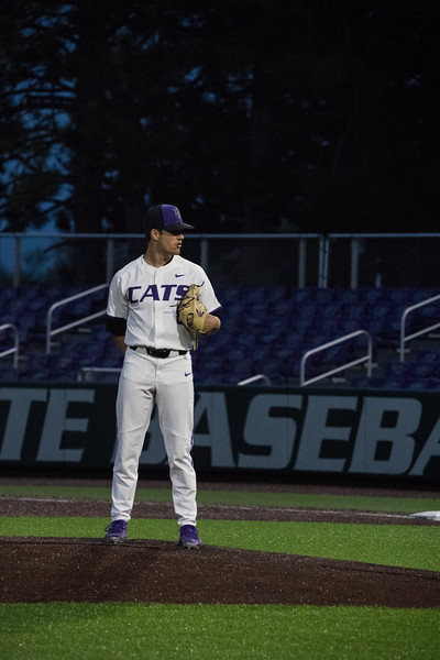 Sophomore Pitcher Andrew Stratman prepares to throw pitch at game against TCU, the Wildcats won 7-4 at Tointon Stadium in Manhattan. The baseball team held a fundraiser along with the game, in coordination with the Silver Key Sophomore Honorary. (Dalton Wainscott I Collegian Media Group)