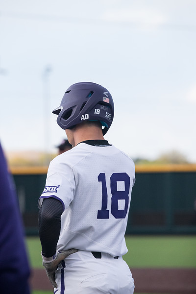 Junior Will Brennan safe on first base at game against TCU, the Wildcats won 7-4 at Tointon Stadium in Manhattan. The baseball team held a fundraiser along with the game, in coordination with the Silver Key Sophomore Honorary. (Dalton Wainscott I Collegian Media Group)
