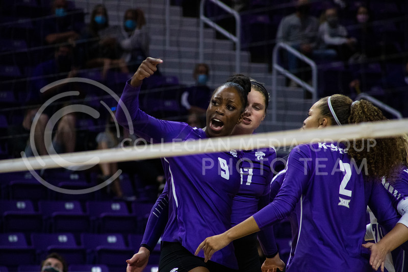 Redshirt sophomore Abigail Archibong cheers towards Texas players after scoring at the game at Bramledge Coliseum on October 17th 2020. The wildcats lost to the #1 ranked Texas by a score of 3-0 in the second game of the series. (Dalton Wainscott I Collegian Media Group).
