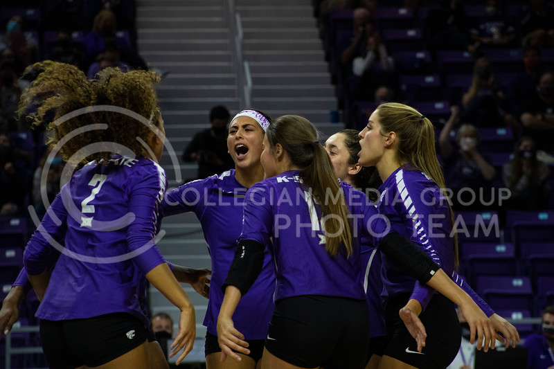 The wildcats celebrate after scoring a point at the game at Bramledge Coliseum on October 17th 2020. The wildcats lost to the #1 ranked Texas by a score of 3-0 in the second game of the series. (Dalton Wainscott I Collegian Media Group).