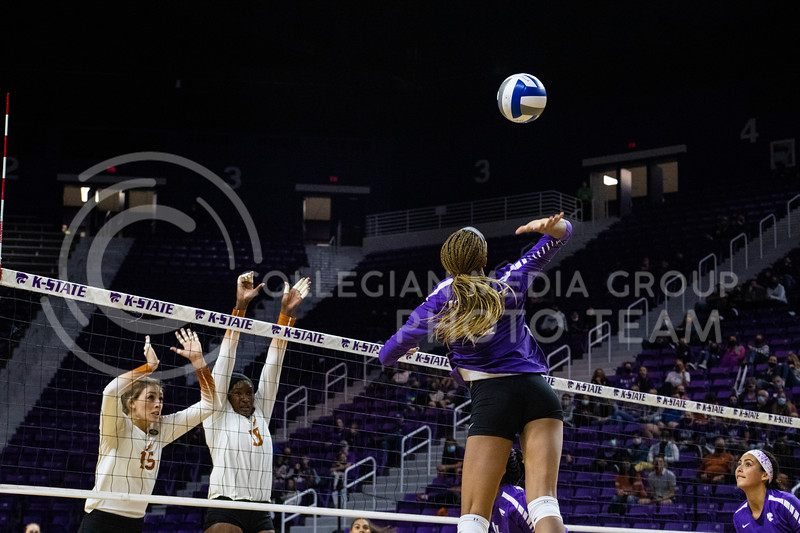 Freshmen outside hitter Jayden Nembhard spikes ball as Texas players attempt to defend at the game at Bramledge Coliseum on October 17th 2020. The wildcats lost to the #1 ranked Texas by a score of 3-0 in the second game of the series. (Dalton Wainscott I Collegian Media Group).