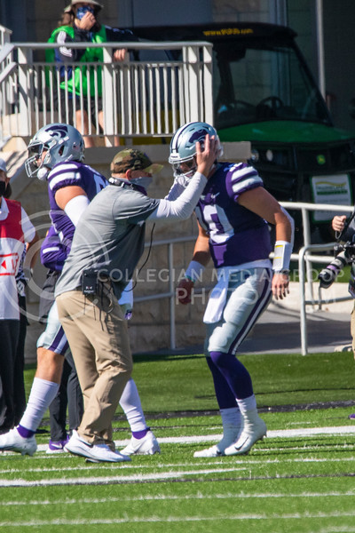 Head coach Chris Klieman celebrates with senior quarterback Skylar Thompsonas he walks off the field after a touchdown. The Wildcats beat the Red Raiders 31-21 at Bill Snyder Family Stadium on Oct. 3. (Dalton Wainscott | Collegian Media Group).
