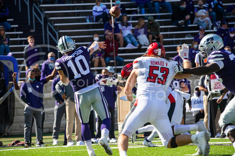 Senior quarterback Skylar Thompson throws to a receiver as Texas Tech defenders close in. The Wildcats beat the Red Raiders 31-21 on Fort Riley Day at Bill Snyder Family Stadium. (Dalton Wainscott | Collegian Media Group).