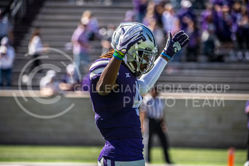 Sophomore wide receiver Malik Knowles excites the crowd before a kick return on the Oct. 3 game against Texas Tech. The Wildcats beat the Red Raiders 31-21 at Bill Snyder Family Stadium. (Dalton Wainscott | Collegian Media Group).