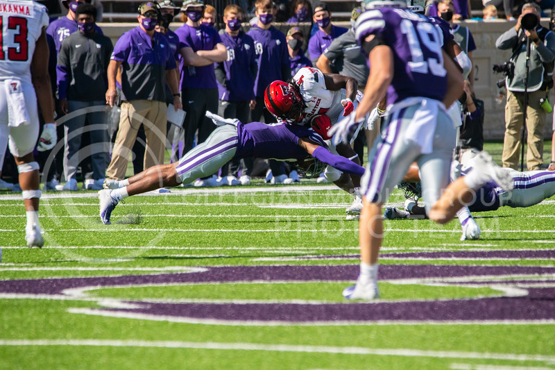 K-State defender stretches out to tackle a Texas Tech wide receiver. during the Oct. 3 game. The Wildcats beat the Red Raiders 31-21 on Fort Riley Day at Bill Snyder Family Stadium. (Dalton Wainscott | Collegian Media Group).