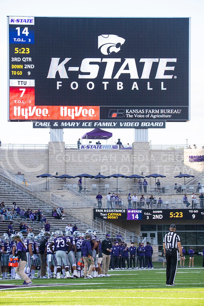 K-State football on the big screen. Freshmen Running Back Deuce Vaughn outruns Texas Tech defender for touch down in first half. The Wildcats beat the Red Raiders 31-21 on Fort Riley day at Bill Snyder Family Stadium. (Dalton Wainscott | Collegian Media Group).