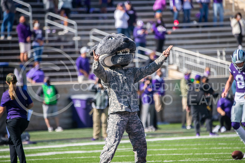 Willie the Wildcat, dressed in fatigue's gets the crown pumped up with K-S-U Chant. The Wildcats beat the Red Raiders 31-21 at Fort Riley day at Bill Snyder Family Stadium. (Dalton Wainscott | Collegian Media Group).