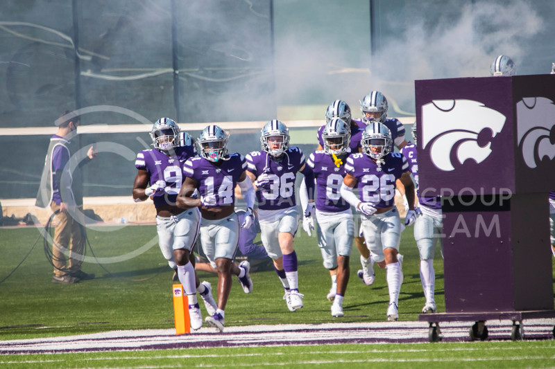 The Wildcats run onto the field Oct. 3 to play Texas Tech. The Wildcats beat the Red Raiders 31-21  at Bill Snyder Family Stadium. (Dalton Wainscott | Collegian Media Group).