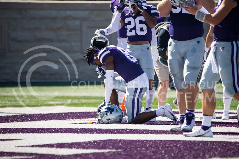 Freshmen defensive back Tee Denson prays before the game against Texas Tech on Oct. 3, 2020. The Wildcats beat the Red Raiders 31-21 at Bill Snyder Family Stadium. (Dalton Wainscott | Collegian Media Group).