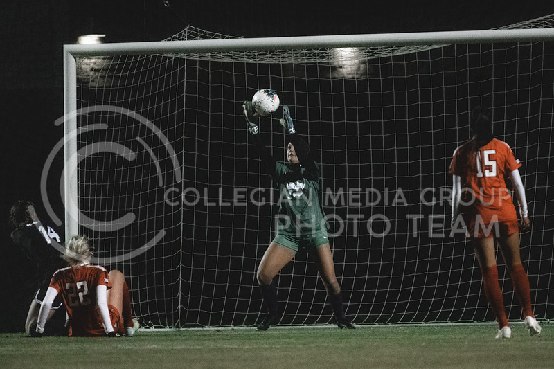 K-State Wildcat's freshman goalkeeper, Peyton Pearson, saves a Texas Tech shot attempt. KSU finished the night 2-0 against TTU on senior night at Buser Family Park, Friday, November 13, 2020. (Dylan Connell   Collegian Media Group)