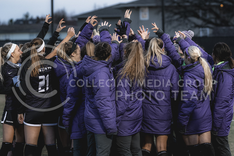 K-State Wildcats huddle up before facing off against Texas Tech. KSU finished the night 2-0 against TTU on senior night at Buser Family Park, Friday, November 13, 2020. (Dylan Connell   Collegian Media Group)