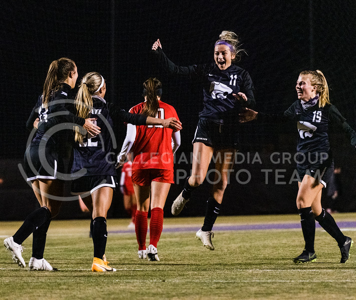 K-State Wildcat's celebrate after, Maddie Weichel, Scores against Texas Tech in the final half of the soccer match. KSU finished the night 2-0 against TTU on senior night at Buser Family Park, Friday, November 13, 2020. (Dylan Connell   Collegian Media Group)